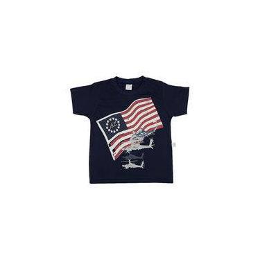 Camiseta Infantil Meia Malha Bandeira Helicópteros - Marinho