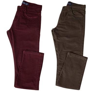 Kit com Duas Calças Masculinas Jeans e Sarja Coloridas com Lycra - Vinho e Verde - 48