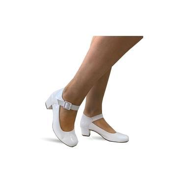 Sapato Lilha Shoes Feminino Confortavel Salto Baixo Grosso - 880 Branco Verniz