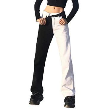 Jeans feminino Y2K Baggy Streetwear Jeans Feminino Y2K Fashion Cintura Alta Jeans Calças Estilo Vintage, Xwx2201225ap06, S