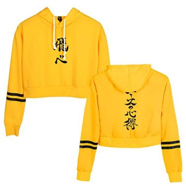 Moletom feminino Haikyuu Manga Hinata Kageyama Cosplay Crop Top Jersey Anime Haikyuu Cropped Moletom feminino com capuz para meninas, F - amarelo, S