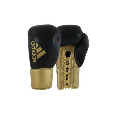 Luva de Boxe Muay Thai Hybrid 400 Pro Lace Preto com Dourado 18 Oz