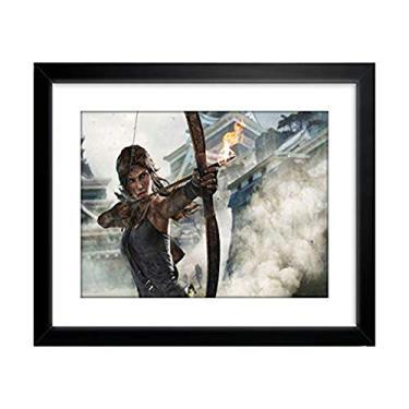 Quadro Decorativo Tomb Raider Lara Croft Game Filme Decoracao para Casa Sala Copa Cozinha Quarto Varanda Hall Loja Escritorio Moldura Paspatur Pronto para Pendurar