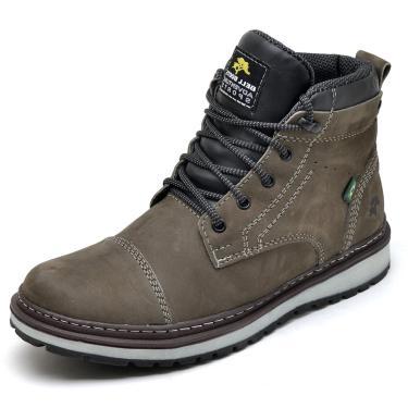 Bota Adventure Bell Boots Couro Nobuck Macia Leve Conforto Cinza  masculino