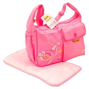 Bolsa para Bebês Colibri Baby com Trocador - Bordada - Grande - Vagalume Rosa