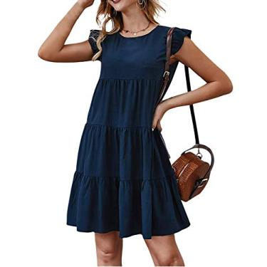Jurebecia Vestido de senhora com mangas esvoaçantes saia verão estilo fofo jovem vitalidade,marinho-S