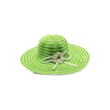 Chapéu De Praia Verde Com Enfeite De Flor E Pedra
