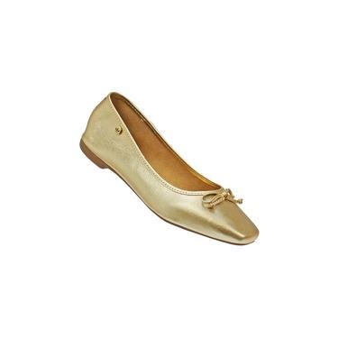 Sapatilha Dourada Ouro Light Feminina Bico Quadrado Couro Legítimo Macia Confortavel Madamix
