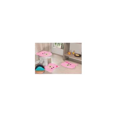 Imagem de Jogo de Banheiro Premium Formato Ursa 03 Peças Rosa