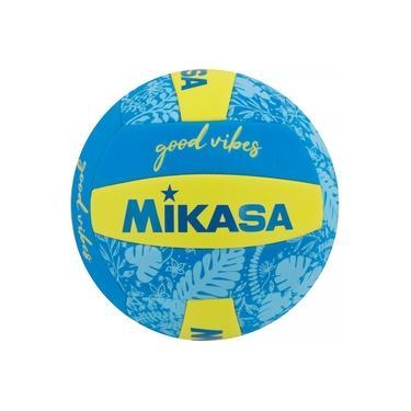 Bola de Vôlei de Quadra/Praia Mikasa Good Vibes Azul/Amarelo
