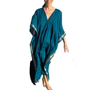 Biquíni Kaftan feminino casual longo Ailunshika, vestido de praia turco, Peacock Blue, One Size