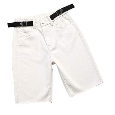Calça jeans feminina Fubotevic Bermuda ciclismo verão perna reta cintura alta jeans calça quente, 3, Large