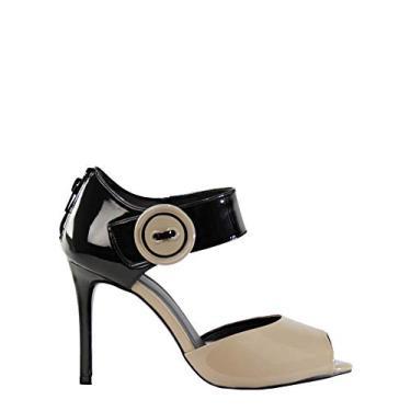 Sandália SHEPZ de verniz salto alto fivela lateral amêndoa com preto