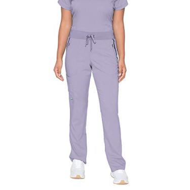BARCO Calça feminina elevada Grey's Anatomy Impact com elastano elástico e 6 bolsos, Wistéria, roxo, Large Petite