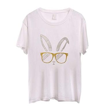 Novas camisetas femininas Coelhinho da Páscoa 2021 plus size divertidas gola redonda manga curta camisetas camisetas Casaul túnicas, Branco, XXL