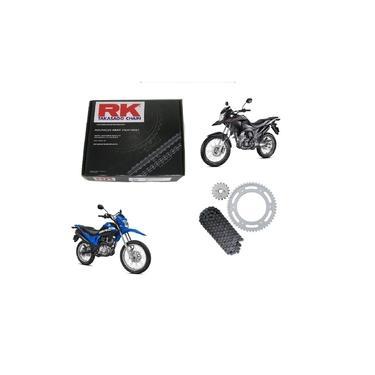 Imagem de Kit Relação Transmissão Tração Corrente Coroa e Pinhão Aço 1045 Rk Honda Nxr 160 Bros Xre 190