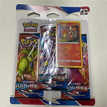 Imagem de 2 Triple Pack Pokémon Espada E Escudo 5 Estilos De Batalha Charmander E Arrokuda Copag Cards Cartas, tcg