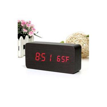 e111a0d5337 Relógio Despertador Mesa Digital Tipo Madeira Com Sound Control 1299pto