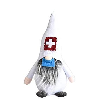 Imagem de Gnomos de pelúcia de médico anões sem rosto para enfermeiras, tema de enfermeiras, enfeite de janela de boneca sueca tradicional para carro de Natal e casa