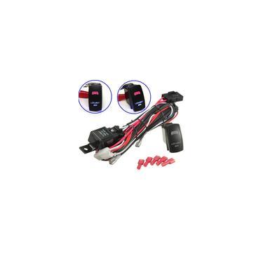 Imagem de 1 conjunto LED universal barra de luz de trabalho Laser Rocker Switch Kit de chicote elétrico Loom com fusível de relé 40A para carros caminhão motocicleta barco
