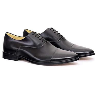 Sapato Oxford Couro Masculino Confort Liso Dia a Dia Cadarço Preto 42