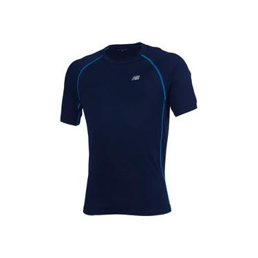 Camiseta de Manga Curta New Balance | Masculino Azul - M