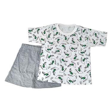 Pijama Infantil Manga Curta Menino Verão Branco Cinza