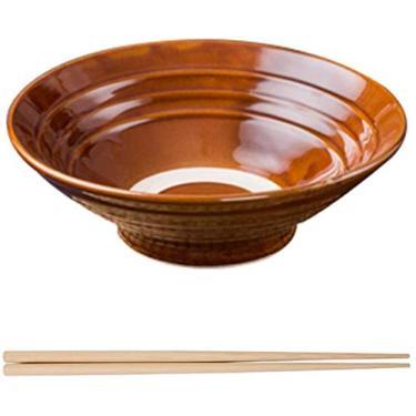 Imagem de GJNVBDZSF Tigela de sopa Japonesa Ramen Recipiente de cerâmica para pés altos com costelas de porco estilo retrô Comercial Tableware Noodle Shop