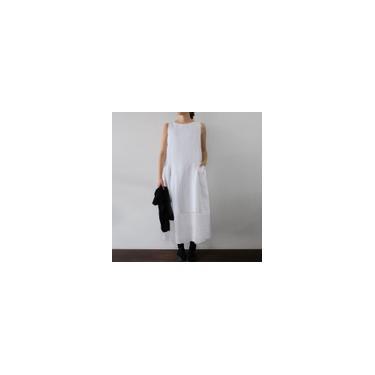Imagem de Zanzea feminino decote redondo verão férias praia vestido longo camisa sem mangas vestido de verão Branco 2XL
