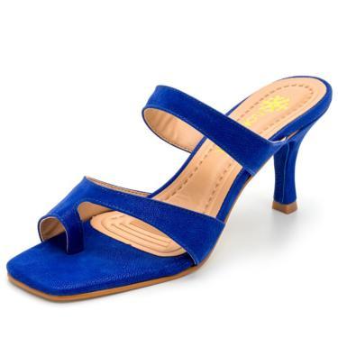 Sandália Feminina Salto Baixo Fino Bico Quadrado Em Nobucado Azul Bic  feminino