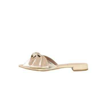 Sandália Rasteira Laço Laminado Dourado  feminino