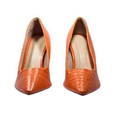 Scarpin Croco Orange Tamanho:37;Cor:Laranja