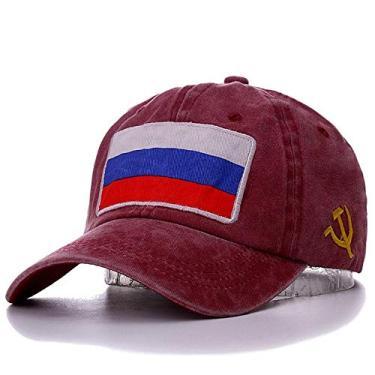 Imagem de DIROOM Boné de beisebol New Spring Summer com bandeira russa de algodão lavado, boné de ajuste CCCP barato para homens e mulheres