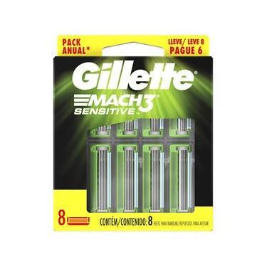 Imagem de Carga para Aparelho de Barbear Gillette Mach3 Sensitive - 8 unidades
