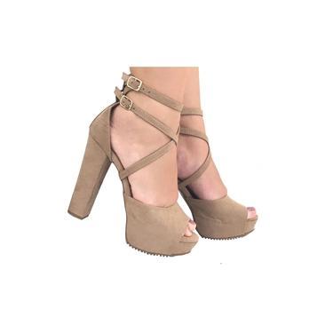 Sandalias Femininas Salto Grosso Meia Pata Sapatos Femininos Plataforma Salto Alto