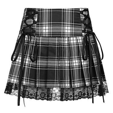 Saia gótica plissada sexy roxa cintura alta mini saia xadrez com cadarço, Preto, L