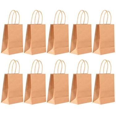 Outgeek Bolsa de papel Kraft resistente, reutilizável, multiuso, bolsa de presente, sacola de compras