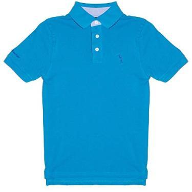 Camisa Polo Azul Lisa Infantil Aleatory-Azul-4