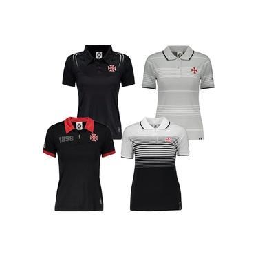 Kit C/ 4 Camisas Polo Femininas Baby Look Vasco da Gama Algodão + Poliéster G Branco / Preto