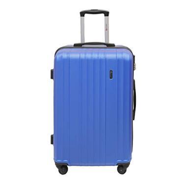 Mala de Viagem Com Trava de Segurança, 4 Rodinhas, Alça de Carrinho, LS MA8106 Tamanho Médio, Azul
