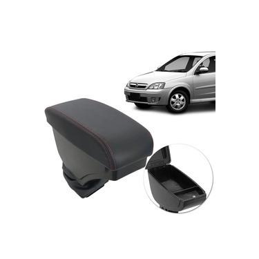 Encosto Descanso Braço Apoio Corsa Hatch Sedan Joy Maxx Montana Porta Objetos Preto Costura Vermelha