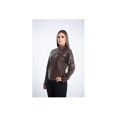 Jaqueta Parra Couros feminina GP shine marrom