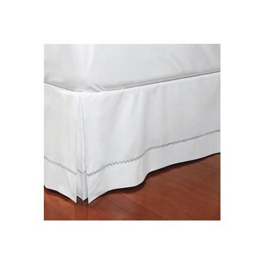 Imagem de Saia Para Cama Box Queen Plumasul Sianinha Prata 160x200cm Branca