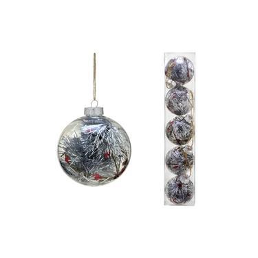 Conjunto 5 Bolas Decoradas para Árvore 8cm Transparente com Festão Prata Espressione Christmas