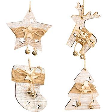 JUSTDOLIFE Decoração de árvore de Natal 4 peças de madeira vazada sino decoração de Natal ornamento de Natal
