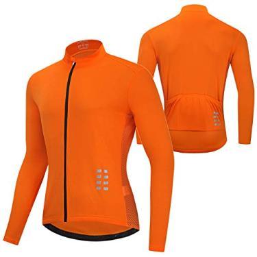Jersey de ciclismo, Andoer Camisa masculina de manga longa para ciclismo MTB respirável para bicicleta camisa para ciclismo e corrida jaqueta esportiva