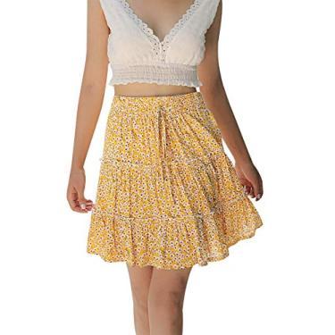 WonderBabe Saia feminina de bolinhas de cintura alta com babados bohemian fofa trompete plissada minissaia de skate Amarelo-L