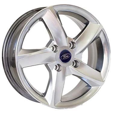 Jogo de Rodas Ford New Fiesta Aro 15 x 6,0 4x108 ET40 K40 Prata Diamantado