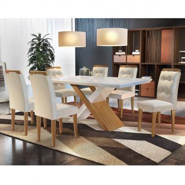 Conjunto Sala de Jantar Mesa 6 Cadeiras Amanda Espresso Móveis Creme/Off White/Imbuia