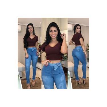 Calça jeans clochard com cinto lançamento modeladora